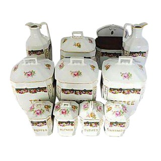 Vintage Porcelain Floral Spice Set - Set of 11 For Sale