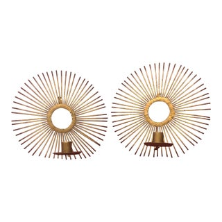 1960s Brutalist Hand-Made Wrought Iron Sunburst Sconces - a Pair For Sale