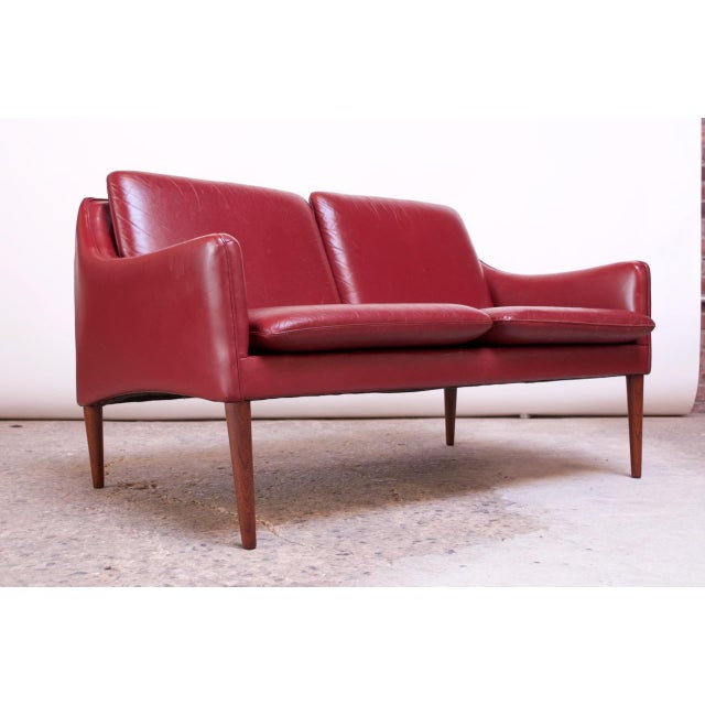 Danish Modern Cranberry Leather Settee by Hans Olsen For Sale - Image 13 of 13
