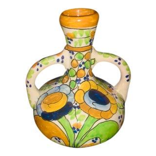 1950s Vintage Spanish Art Pottery Floral Vase For Sale