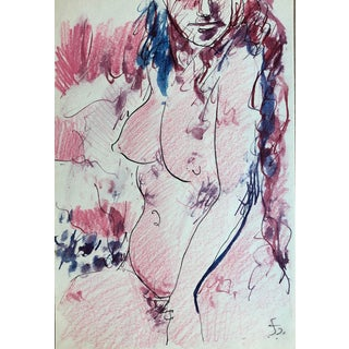 Mid-Century Female Nude Watercolor by James Bone, 1960s For Sale