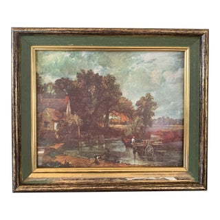 """1950s Vintage John Constable """"The Haywain"""" Reproduction on Canvas Print For Sale"""
