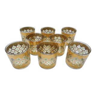Culver Valencia Gold Moroccan Inspired Low Ball Glasses - Set of 8 For Sale