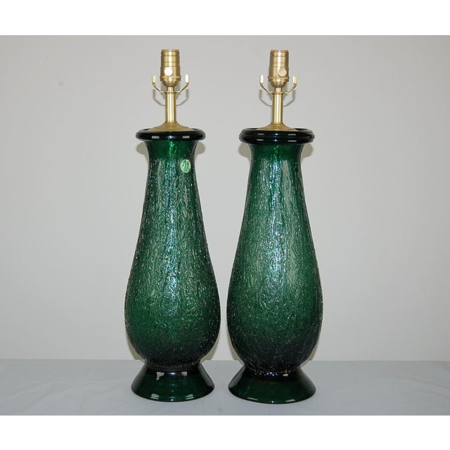 Vintage Venetian glass table lamps of DEEP JADE GREEN are traditional, with a kick. Extremely thick glass with a heavily...