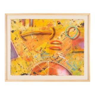 Yellow Abstract 3d Painting 1980's For Sale