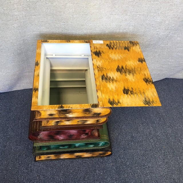 Boho Chic Italian Tole Stacked Books Painted Metal Side Table For Sale - Image 3 of 4