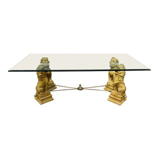 Vintage Chinoiserie Foo Dog Brass and Glass Dining Table For Sale