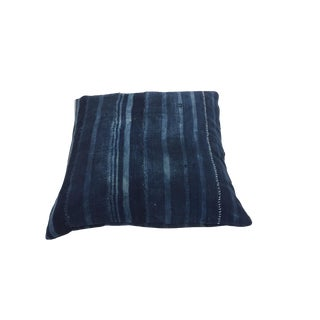 Boho Chic Mali Indigo Blue Pillow With White Visible Mending For Sale