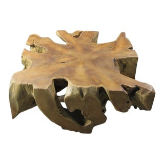 Organic Modern Square Teak Root Coffee Table For Sale