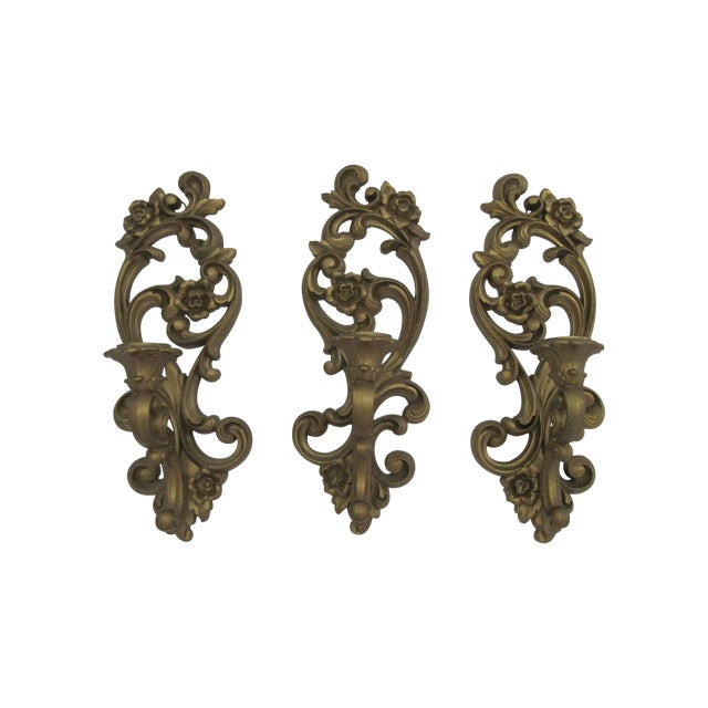 Homoco Gold Candle Sconces - Set of 3 - Image 1 of 6