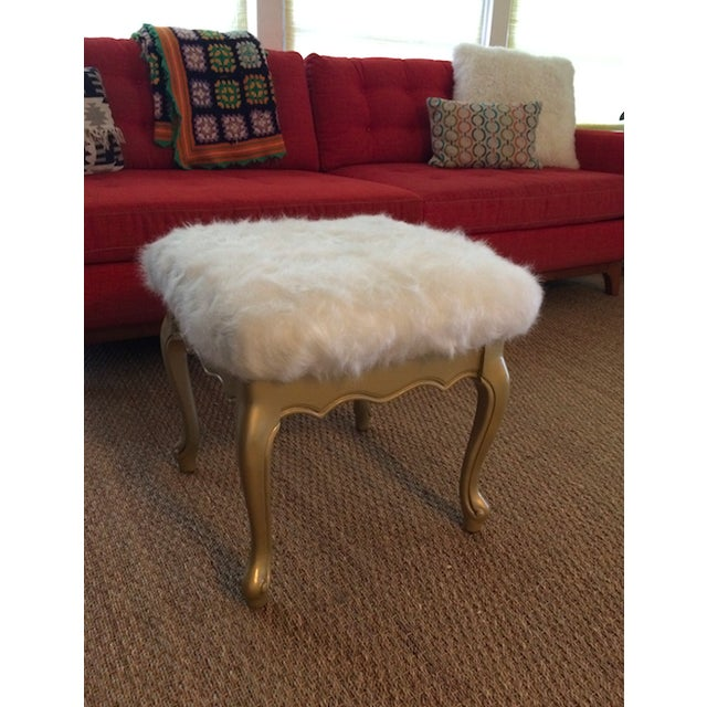 Faux Fur French Provincial Ottoman - Image 4 of 5