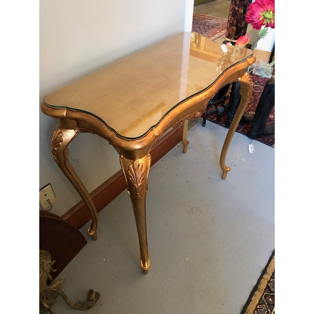 Glass 1900s French Gilt Leaf Turn of the Century Console Table For Sale - Image 7 of 12
