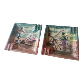 Hand Painted Ceramic Ashtrays - A Pair