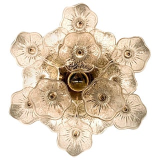Italian 1970s Brass and Glass Floral Ceiling Mount Light Fixture For Sale