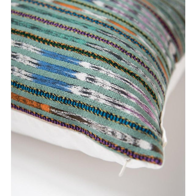 Vintage Guatemalan Green Ikat Pillow - Image 3 of 5
