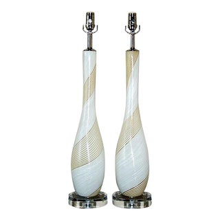 Dino Martens Murano Glass Lamps White For Sale