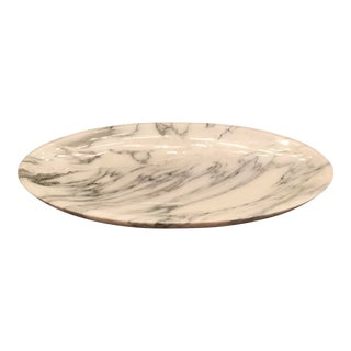Transitional Interlude Home Marble Harlow Oval Tray For Sale