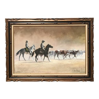 Carl Madden Signed Western Scene Oil on Canvas, Circa 1960 For Sale