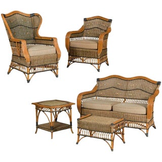 Grange French Vintage Wicker Porch Set - Set of 5