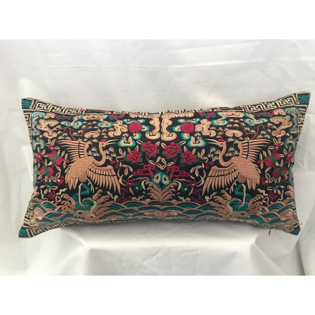 Turquoise Hollywood Regency Black & Gold Silk Embroidered Chinoiserie Boudoir Lumbar Pillow For Sale - Image 8 of 9