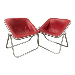 1950s Plona Folding Leather Sling Chairs by Giancarlo Piretti for Castelli- a Pair For Sale