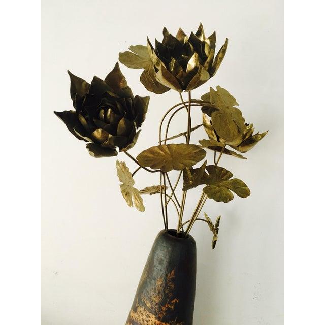 Curtis Jere Brutalist Brass Flowers & Vase For Sale - Image 4 of 8