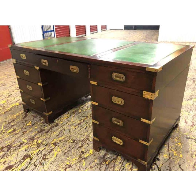 Campaign 1970s English Campaign Mahogany Brass & Green Leather Partner Desk For Sale - Image 3 of 8
