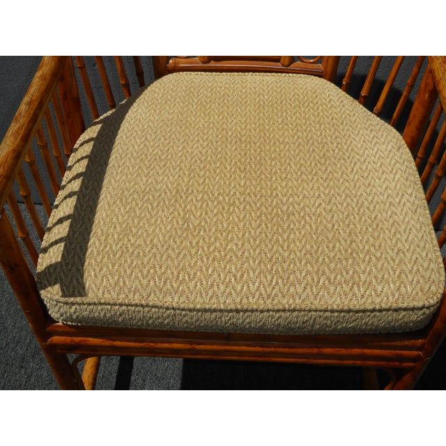 Vintage Chinoiserie Brighton Pavillion Style Rattan Bamboo & Cane Arm Chair For Sale - Image 5 of 11