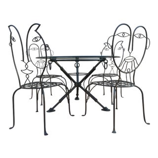 John Risley Style Sculptural Figural Wrought Iron Chairs - 5 Pieces + Glass Top For Sale