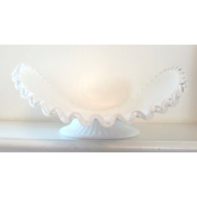Fenton Art Glass Company Fenton Milk Glass Silver Crest Banana Bowl Centerpiece For Sale - Image 4 of 6