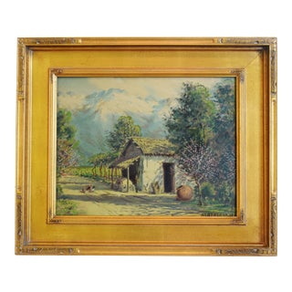 Beautiful Framed Country Thatched Cottage & Landscape Oil Painting by Alberto Lobos For Sale