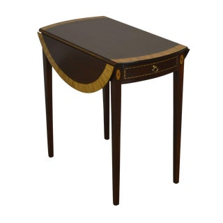 Madison Square Federal Inlaid Mahogany Pembroke End Table For Sale