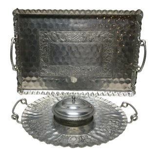 Mid 20th Century Ornate Engraved Aluminum Serving Trays - Set of 2 For Sale
