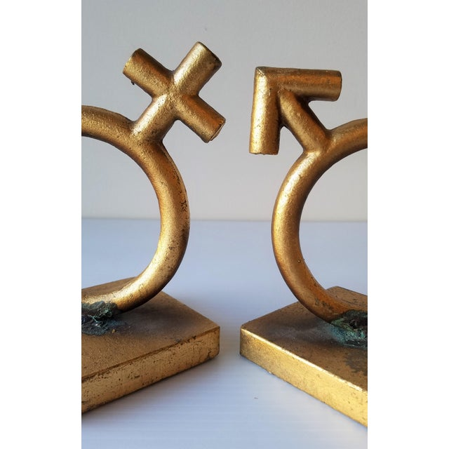 Mid-Century Modern 1970's C.Jere 'Sexes' Gold Iron Bookends - a Pair For Sale - Image 3 of 8