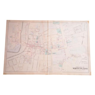 Antique Village of White Plains, NY Map For Sale