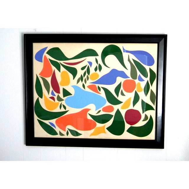 "1970s original abstract linocut print, colorful and bright. Limited edition, 21/60. The print is signed ""Preston"", titled..."
