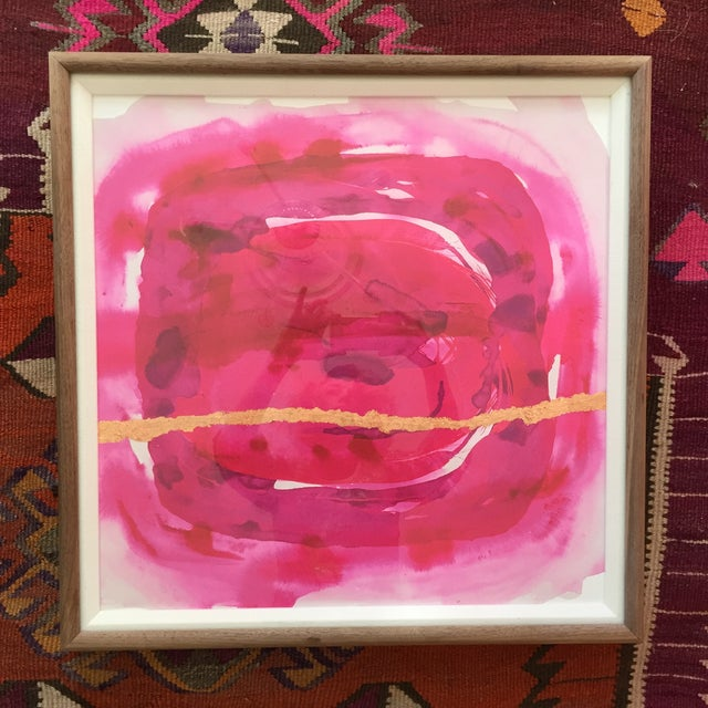 Fantastic fuschia color with a hanging wire on the back. Curved walnut natural wood frame. High-quality plexiglass...