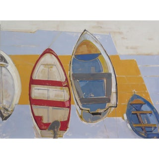 Italian Boats Resting Contemporary Painting For Sale