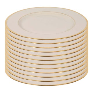 Modernist Dinner Plates in 24-Karat Gold and Bone China by Lenox - Set of 12 For Sale
