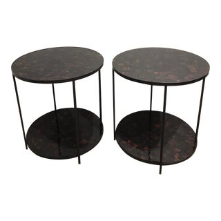 Industrial Oly Jonathan Shell & Bronze Tall Side Tables - a Pair For Sale