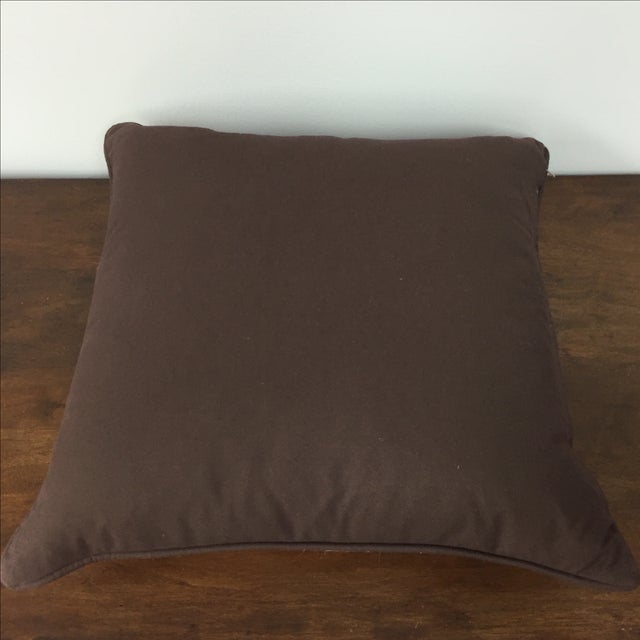 Printed Face Chocolate Brown Throw Pillows - a Pair For Sale - Image 4 of 4