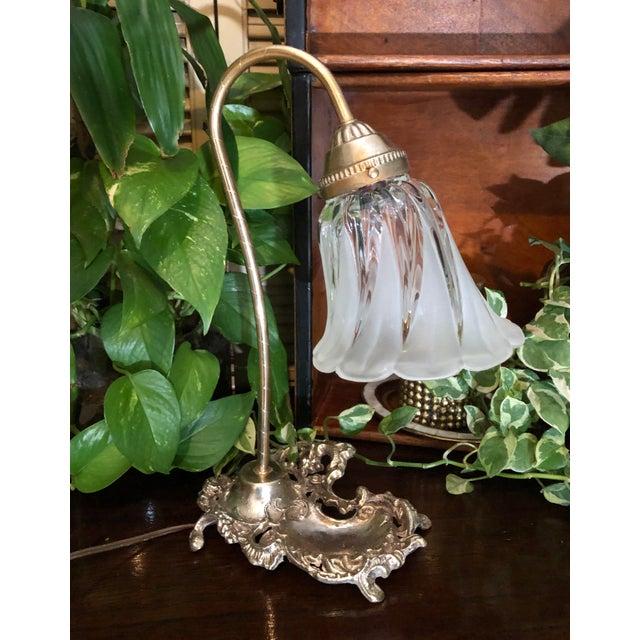 Vintage Victorian Brass Goose Neck Lamp Tulip Glass Shade Ink Holder Lamp Desk Side Table Light For Sale - Image 10 of 12