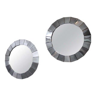 Pair of Round Polished Steel Framed Mirrors For Sale
