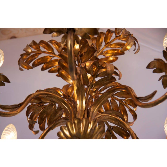 1970s Gilt Metal Palm Tree Leaf Chandelier Attributed to Hans Kögl For Sale - Image 5 of 6