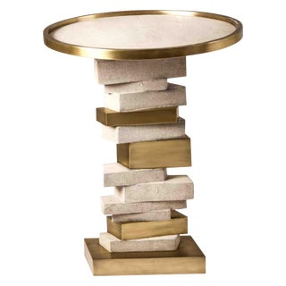 Bullion Side Table in Cream Shagreen and Bronze-Patina Brass by Kifu Paris For Sale