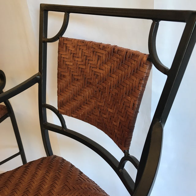 Iron and Woven Leather Bar Stools - a Pair For Sale - Image 11 of 12