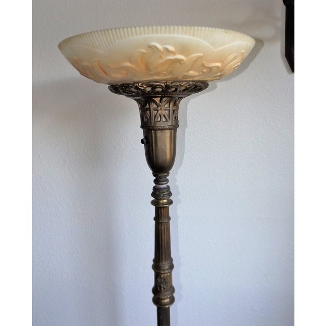 Vintage Brass & Marble Floor Lamp For Sale - Image 4 of 10