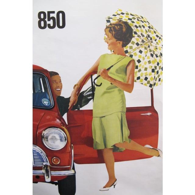 "1950s 1959 Original Vintage Car Advertisement Poster - British Car ""Morris 850 Mini"" For Sale - Image 5 of 6"