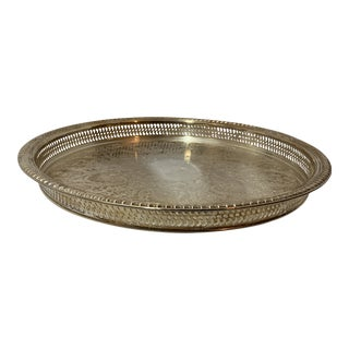 Mid-Century Round Floral Design Silver Plated Platter For Sale