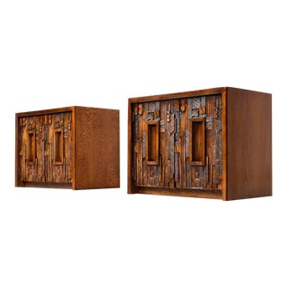Lane Paul Evans Style Restored Brutalist Nightstands - A Pair